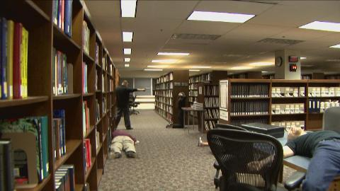 Shooter in library