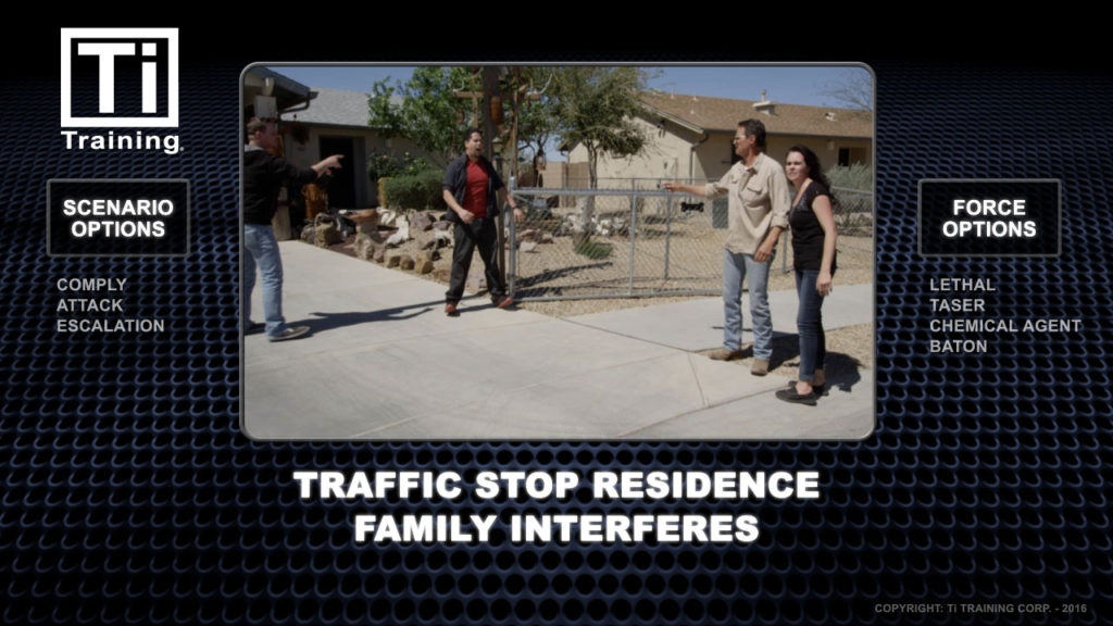 traffic stop residence family interferes